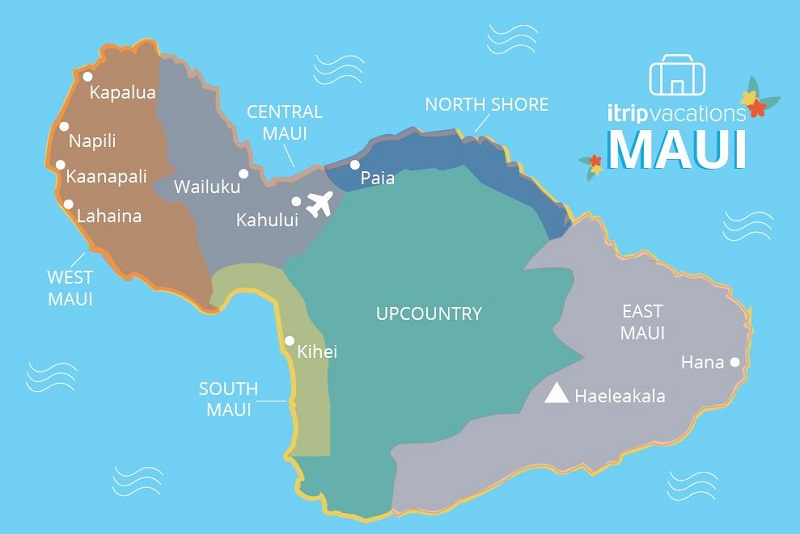 top maui cities itrip vacations map